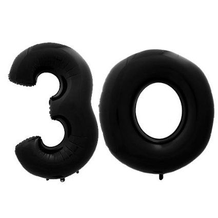 Black Number Megaloons 30th Birthday Balloons