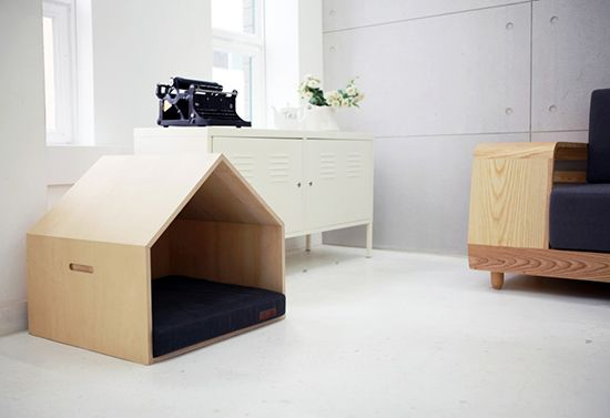 Seungji Mun designed this modern pet house for Korean Company m.pup....The m.pup Pet House is made from birch plywood with a removable cushion inside that comes in a variety of colors. ~ $265 (before shipping)