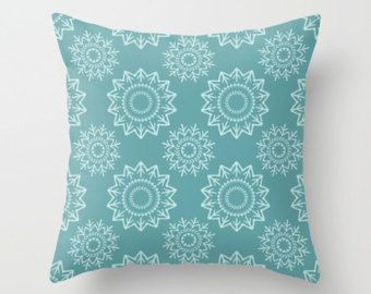Check out Blue Pillow, Green Pillow, Blue Pillow Cover, Blue Throw Pillow, Modern Pillow, Contemporary Pillow, Snowflakes, Stars, Medallion, 16x16 on peppermintcreek