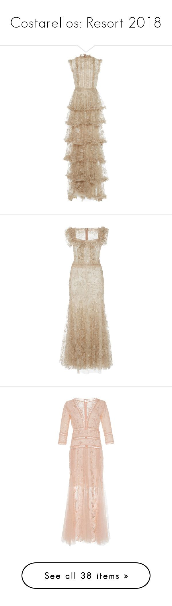 """""""Costarellos: Resort 2018"""" by livnd ❤ liked on Polyvore featuring Costarellos, livndfashion, livndcostarellos, resort2018, dresses, neutral, jacquier tiered-tulle dress, lace cocktail dresses, brown lace dress and brown dress"""