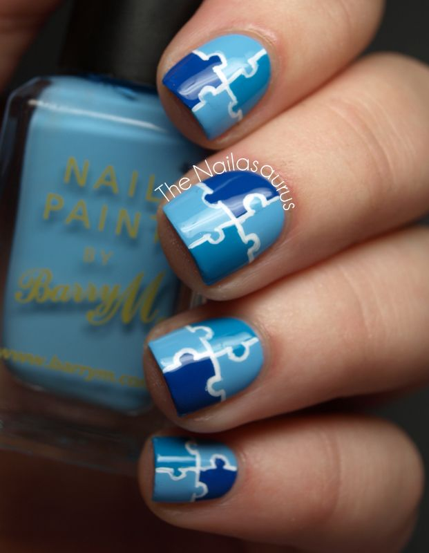 Jigsaw Puzzle Nail Art i love that each of these sweet little puzzles