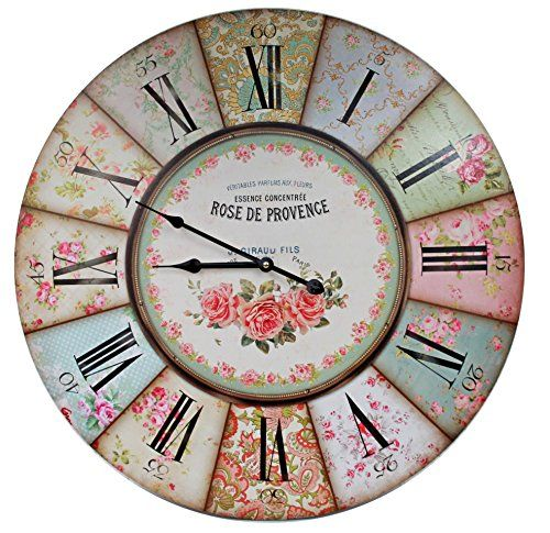 riesige xxl maxi wanduhr rose de provence parfumes paris d 58cm vintage shabby uhr deko. Black Bedroom Furniture Sets. Home Design Ideas