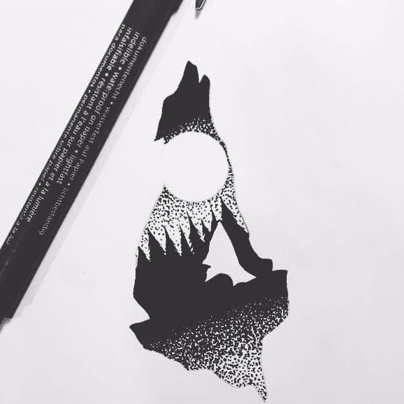 A Tattoo Design Of Sebastiano Perezzetta S Ig Sebastiano Perazzetta Signature Howling Wolf Silhoue Wolf And Moon Tattoo Howling Wolf Tattoo Wilderness Tattoo