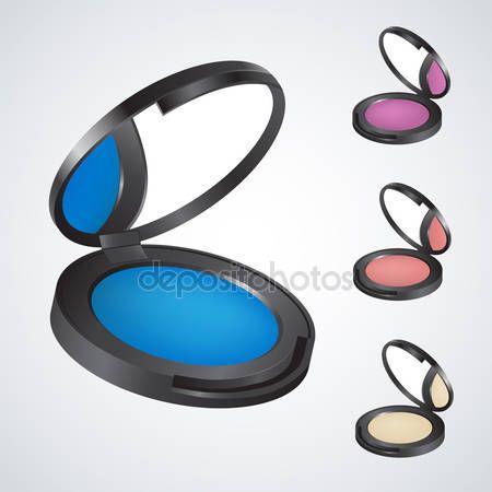 Descargar - Sombra de ojos realista & polvo & rouge & blush — Ilustración de stock #39261547