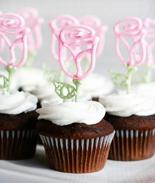Cute cupcakes with Pink Rose toppers