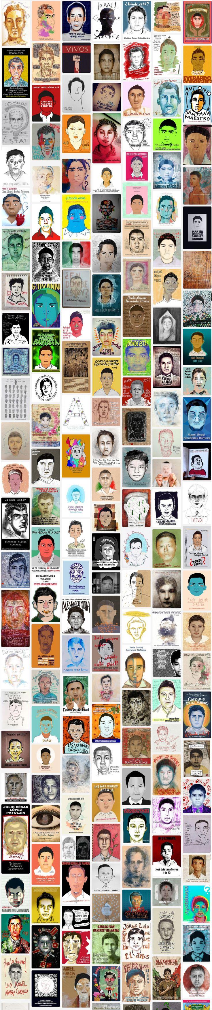 Ilustradores mexicanos dibujaron, pintaron o bordaron los rostros de los 43 estudiantes normalistas de Ayotzinapa, desaparecidos el 26 de septiembre, en Iguala, Guerrero.  #IlustradoresConAyotzinapa http://ilustradoresconayotzinapa.tumblr.com/archive
