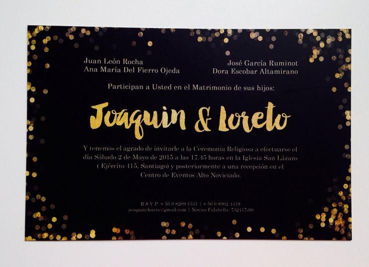 GOLD Wedding Invitation #graphicDesign #WeddingInvitation #blackandGold #gold