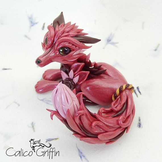 Estrella serie: Petal Fox - polymer clay figurine, Premo, gift, canine, wolf, renard, kitsune, sculpture, pink, magenta, flower, red