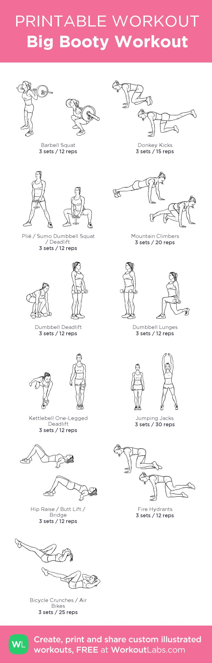 Big Booty Workout:\\u00a0my custom printable workout by @WorkoutLabs #workoutlabs #customworkout