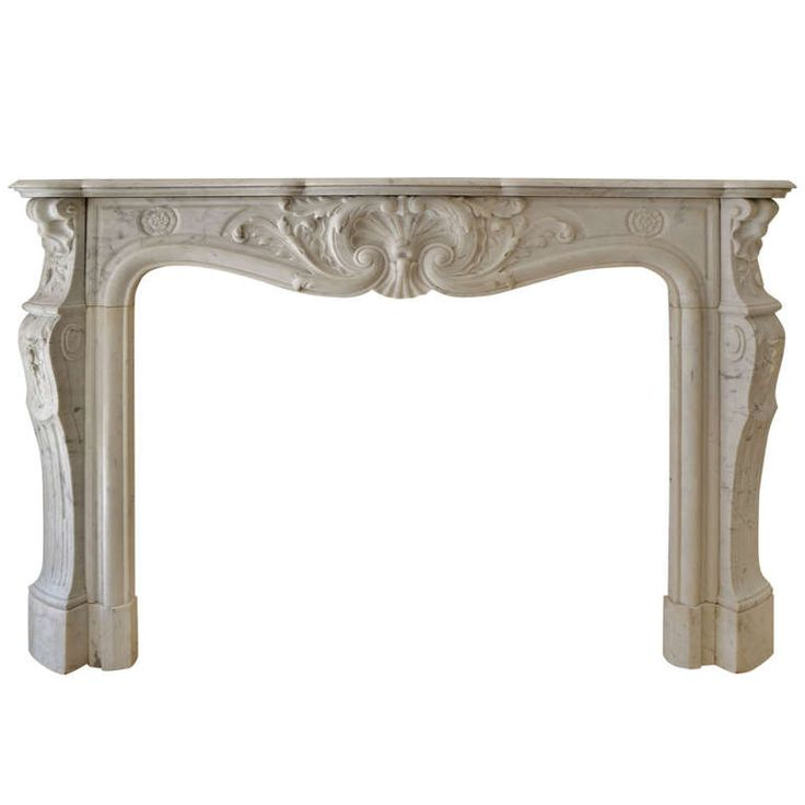 19th Century Louis XV French White Marble Antique Fireplace Mantel