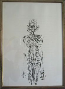 """Alberto GIACOMETTI (Switzerland 1901-1966) (After) <br> Nu <br> Lithograph from  """"Derrière le Miroir"""" #127 / 1963 <br> Dimensions : 42 x 32 cm (cadre)/ 37 x 27 cm <br> Alberto Giacometti : (1901-1966) is a swiss painter and sculptor."""