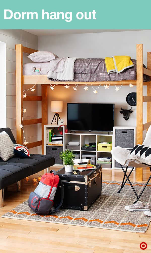 Make your dorm the place where everyone wants to hang out by stocking it with all the college must-haves. Create a gaming zone with a flat-screen TV, gaming console, TV stand and cube shelving to store it all. Then add fun lighting. Table lamps and string lights add the perfect touch under your loft, which frees up much-needed space. Add a futon and a butterfly chair for extra seating. Next up, wall decor. 3M Command Hooks are great for hanging stuff without damaging walls.