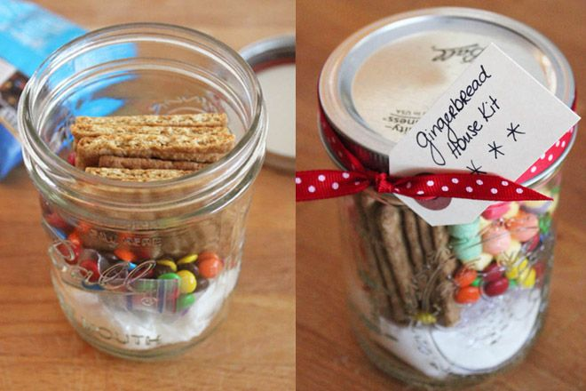 A gingerbread house kit in a mason jar! It's colorful, stylish, and simple to make! 5 Colorful Handmade Mason Jar #Christmas Gift #Ideas | via putitinajar.com #masonjars