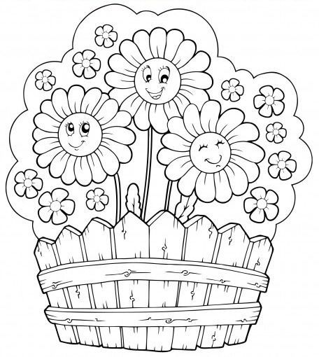 Happy flowers in a basket coloring page