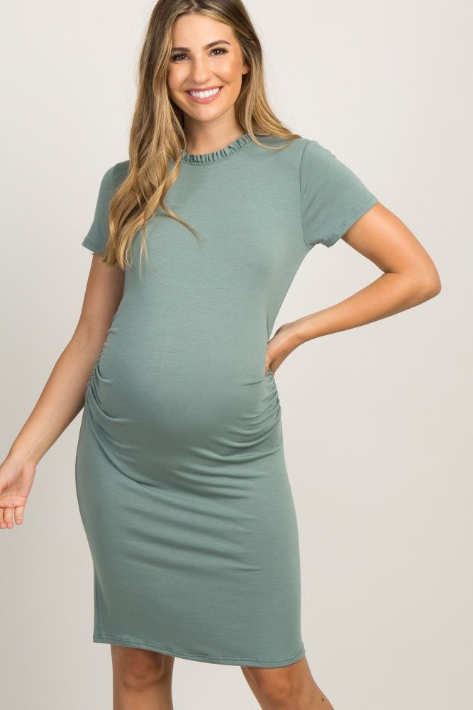 945507c28bd Light Olive Ruffle Neckline Ruched Maternity Dress in 2019 ...