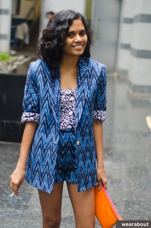 Tania, in Mumbai, had a local tailor sew this ikat (a traditional Indian fabric) pantsuit, for approximately $20.