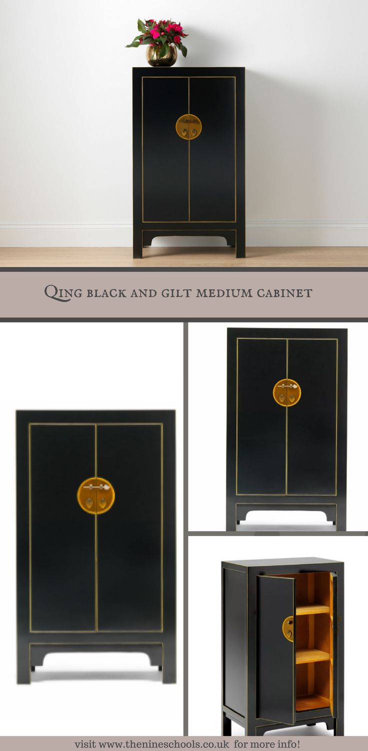 Product Name: Qing black and gilt medium cabinet Product Description: Elegant and simple Chinese style medium cabinet with two removable shelves in satin black finish with gold distressed edges. Ideal for storage of bed linen, clothes, files, toys etc and also can be used as a drinks cabinet with space for bottles and glasses. PRICE: £359.00 Please visit our website for more information.https://buff.ly/2CnC45k?utm_content=buffera0c98&utm_medium=social&utm_source=pinterest.com&utm_campaign=…