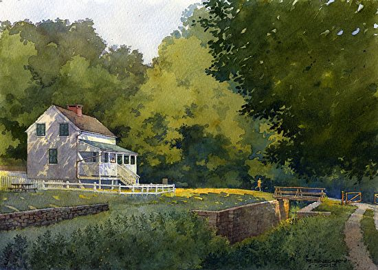 "Lock Keepers House by Richard Sneary Watercolor ~ 10"" x 14"""