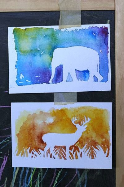 Watercolor silhouette.....great for art projects, ... | school stuff