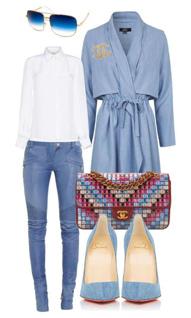 """""""Untitled #252"""" by scannedbyaaron ❤ liked on Polyvore featuring Balmain, Topshop, Chanel, Andrew Gn, Christian Louboutin and AQS by Aquaswiss"""