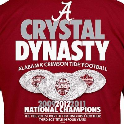 Alabama Crimson Tide 2012 BCS National Champions Crystal Dynasty...I have this shirt!