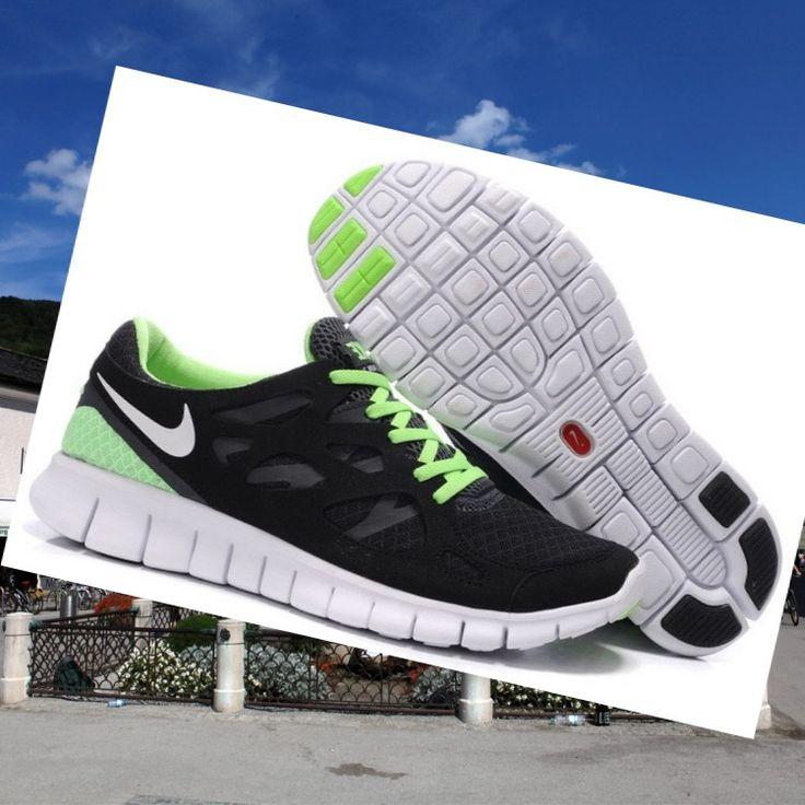mens nike free run 2 black green sneakers hot sale hot price
