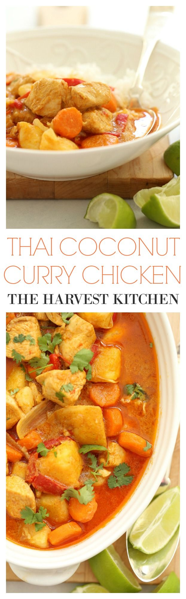 This stew-like Thai Coconut Curry Chicken is loaded with chunks of potato, lean chicken, carrots, onion, red bell pepper all simmered in a rich exotic tasting coconut curry sauce. An easy chicken dinner to make any night of the week! @theharvestkitchen.com