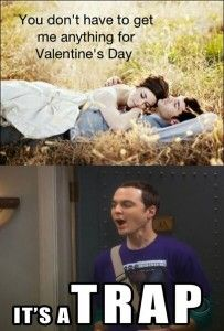 Valentine's Day... It's a Trap! I saw the original of this meme and immediately thought of Big Bang Theory and so looked for a Sheldon Cooper version but couldn't find one. So I took a minute to make my own.