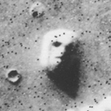 1976 Viking 1 orbiter image of the face on mars. really looked like a statue face, creeped us out
