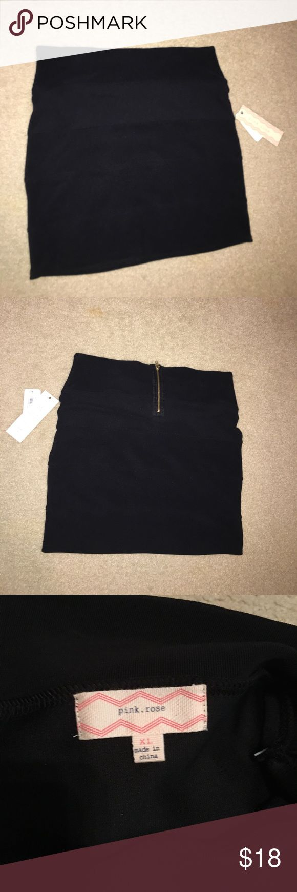 Black pencil skirt Size Xlarge, black pencil skirt from Macy's teen vogue collection! New with tags! Never worn! Pink Rose Skirts Pencil