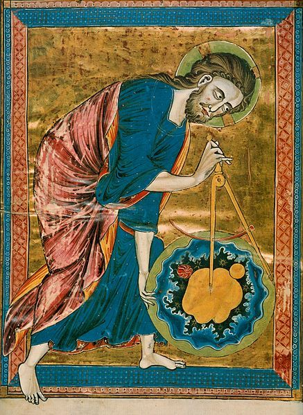 God the Geometer, The Frontispiece of the Bible Moralisee, Gothic, ca. 1250, France. Science, and particularly geometry and astronomy/astrology, was linked directly to the divine for most medieval scholars. The compass in this 13th century manuscript is a symbol of God's act of Creation. God has created the universe after geometric and harmonic principles, to seek these principles was therefore to seek and worship God. Codex Vindobonensis 2554, in the Österreichische Nationalbibliothek.