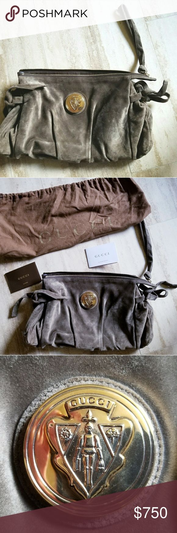 Authentic Gucci suede handbag Beautiful Gucci taupe suede handbag. Only carried one time. There are no signs of wear, this bag looks brand new! Gucci Bags