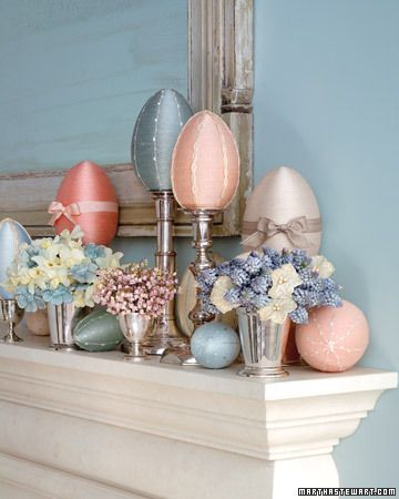 From Martha Stewart, thread-wrapped eggs and I love the color of that wall!