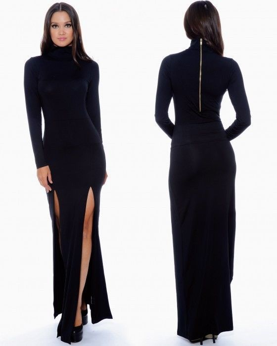 Black bodycon maxi dress