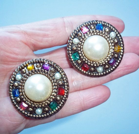 Vintage Faux Pearl Cabachon Large On Clip Earrings Goldtone Rhinestone