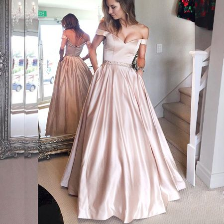 Elegant A-Line Off-The-Shoulder Long Prom Dress With Pocket Beading from Dressywomen