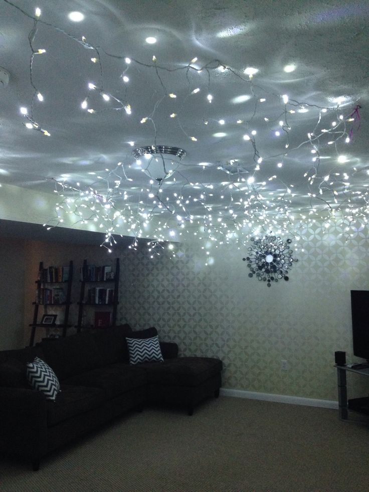 Easy sleeping under the stars theme for slumber parties! Just use icicle Christmas lights!