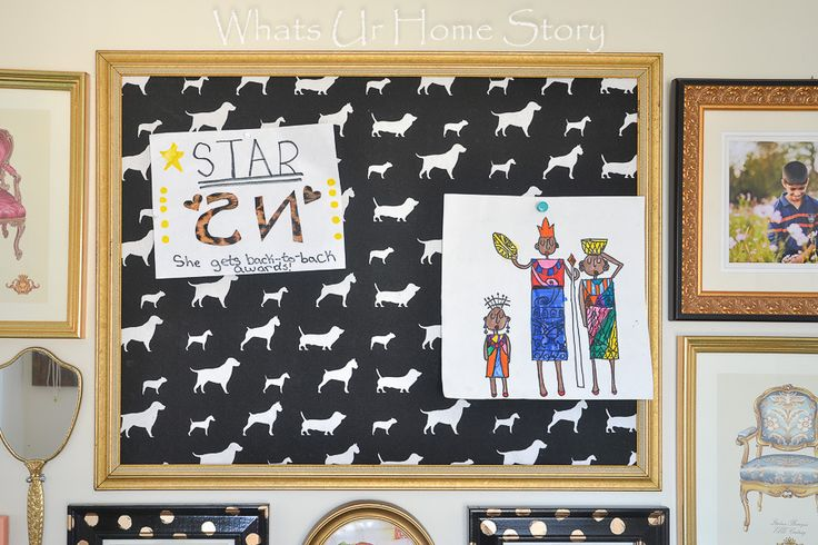 This diy cork board was created from an empty frame, poster board, cork roll, and fabric