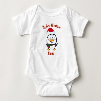My First Christmas Personalized Cute Penguin Named Baby Bodysuit - baby gifts giftidea diy unique cute