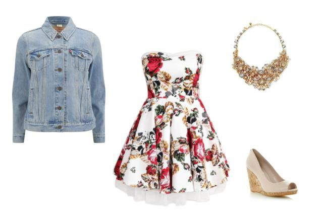 Date Outfits - Pretty Summer Date Style - Flowered Dress, Jean Jacket, Statement Necklace, Wedge Sandals