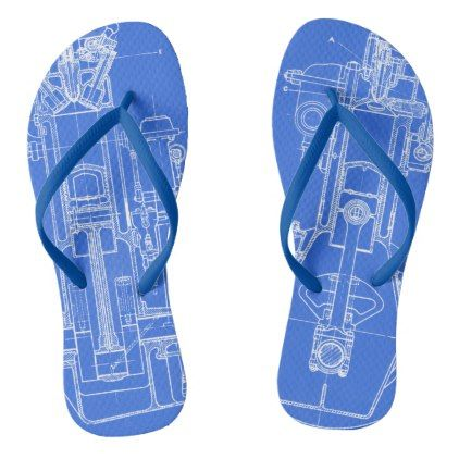 MECHANICAL DRAWING VINTAGE BLUEPRINT WHITE CUSTOM FLIP FLOPS - drawing sketch design graphic draw personalize