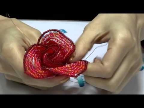 PART 1 tutorial: blue rose out of beads (Как cделать синюю розу из бисера) - YouTube