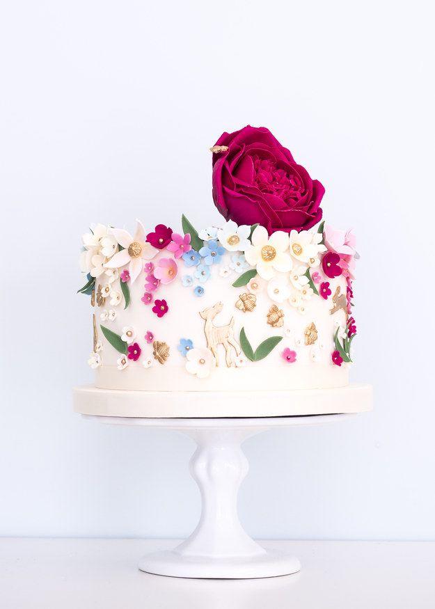 Floral Single Tier Wedding Cake