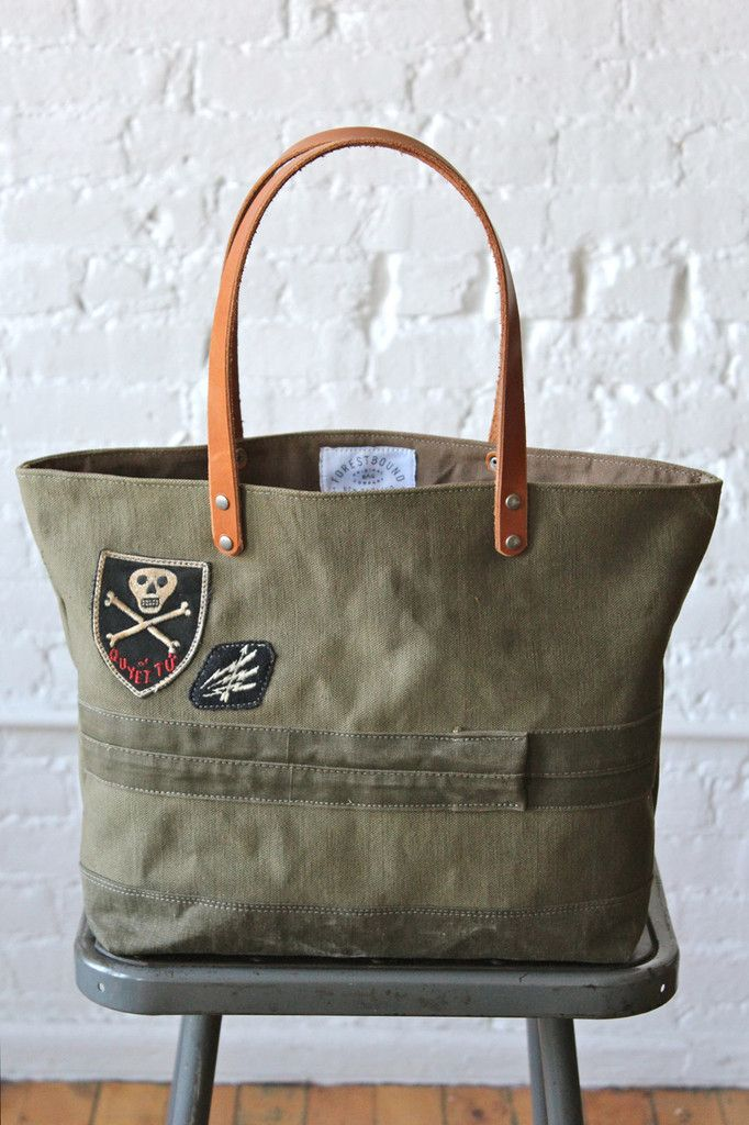 $240 is awful much for a tote bag, but they're way cool. WWII era US Military Canvas Tote Bag w/ Vietnam era Patch