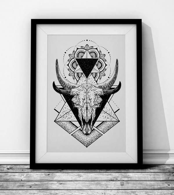 Skull in black Wieprz Design Studio. #skull #tattoo #mandala #geometry #poster