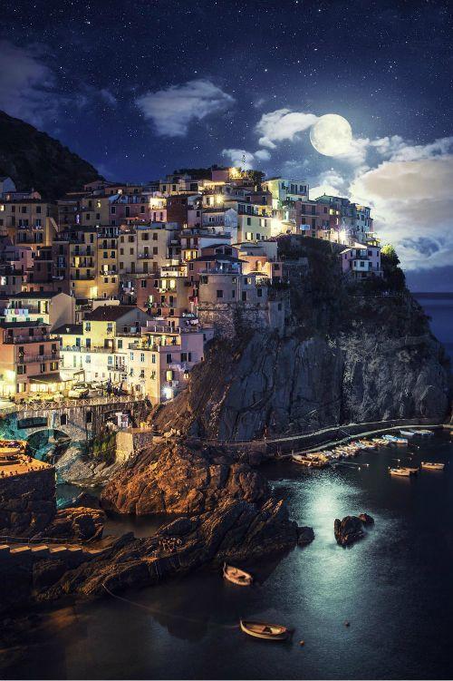 mystic-revelations:  Full Moon in Manarola By Dominic Kamp