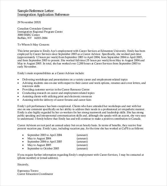 Immigration Reference Letter Template