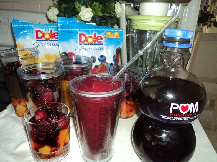 My Pomegranate Mango Smoothies. I mix frozen mangoes and mixed berries with pom juice. I make batches of these smoothies and freeze them for when I want one. They are so good and so good for you!