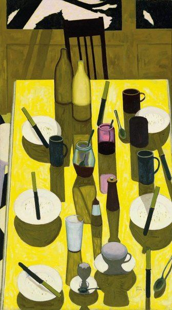 John Brack (Australian, 1920-99): The Breakfast Table (1958). Oil on canvas. Sold at auction by Bonham's, 2013.