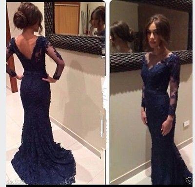 2014 Azul Marino encaje vestido de noche con Pura Manga Larga Sirena Prom vestidos